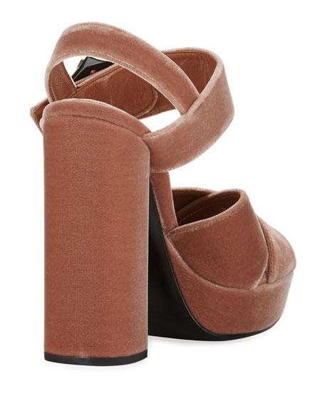 Jeweled Velvet Block-Heel Sandal
