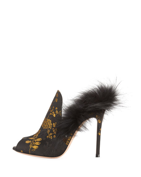 Benton Jacquard Fur-Trim 105mm Mule, Black