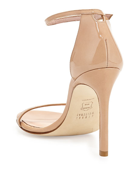 Nudistsong Patent Ankle-Wrap Sandals