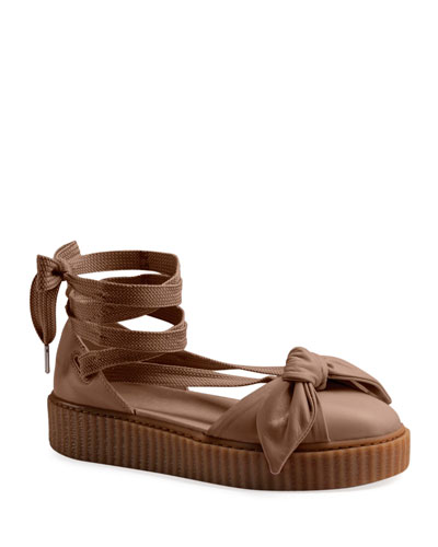 Leather Bow Creeper Sandals, Natural