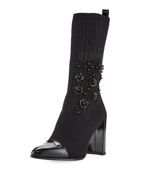 Stuart Weitzman Sockhop Knit Glove Mid-Calf Boot