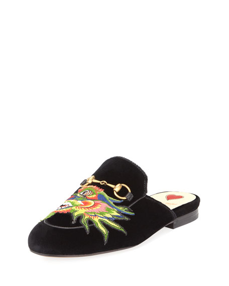 Princetown Velvet Mule With Embroidered Dragon