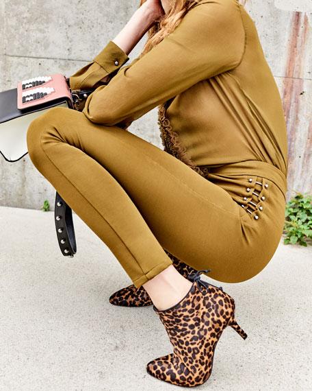 Pipelofty Leopard Calf-Hair Bootie, Chocolate