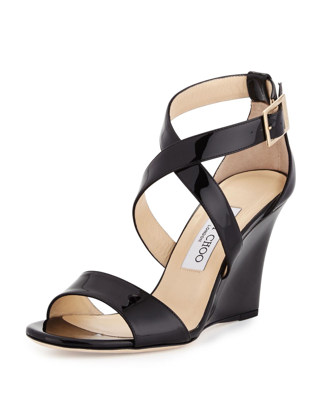62fff6e371 Jimmy Choo Fearne Patent Crisscross Wedge Sandal   Neiman Marcus
