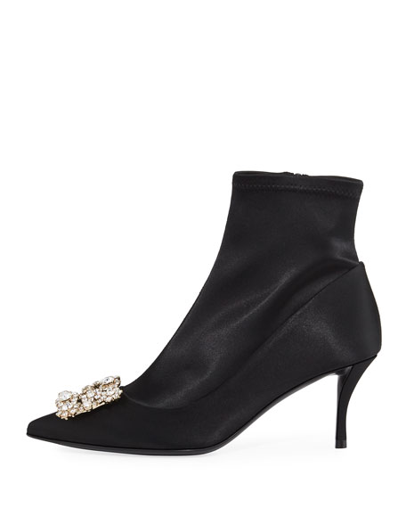 Stretch-Satin Crystal Buckle Boot