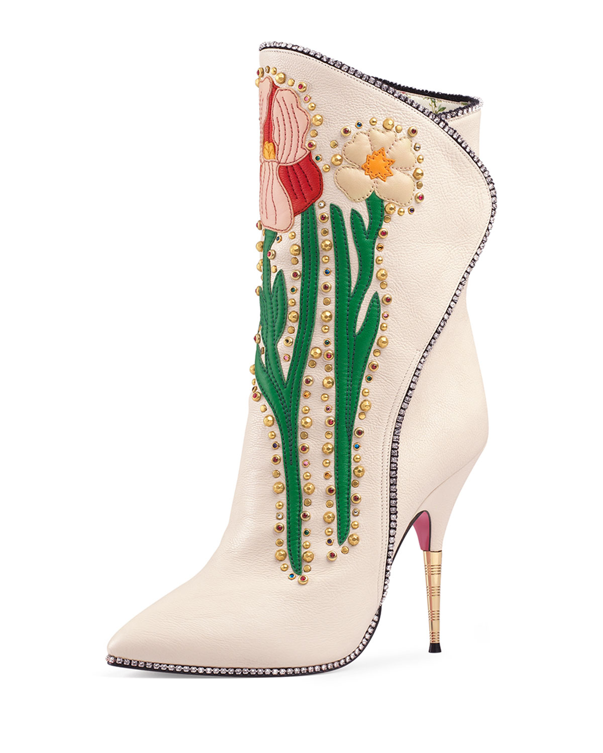 6f221e5139b Gucci Fosca Floral-Embroidered Leather Boot