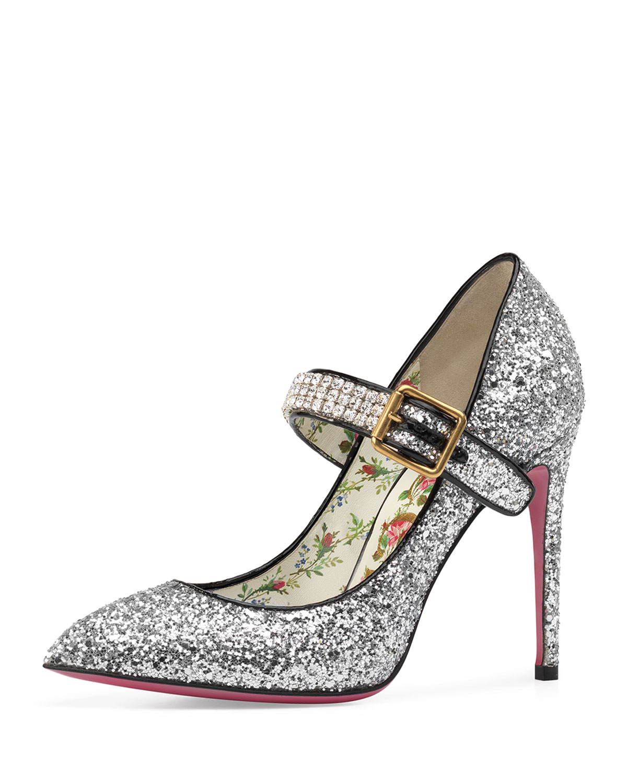 dd6f2383ed0 Gucci 105mm Sylvie Glitter Mary Jane Pump