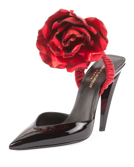 Image 1 of 4: Patent Slingback Pump w/Rose Flower