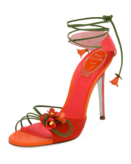 Rene Caovilla Flower Self-Tie 105mm Sandal