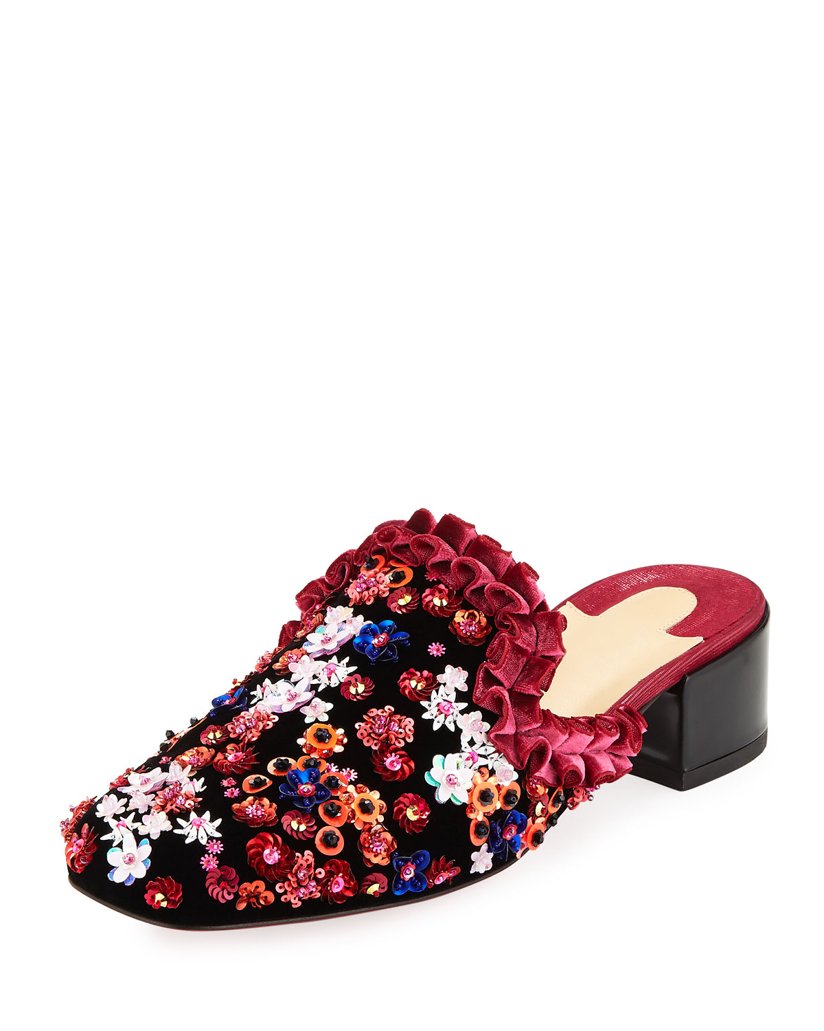 7d51d3617856 Christian Louboutin Dona Viera Embroidered Suede Red Sole Mule ...