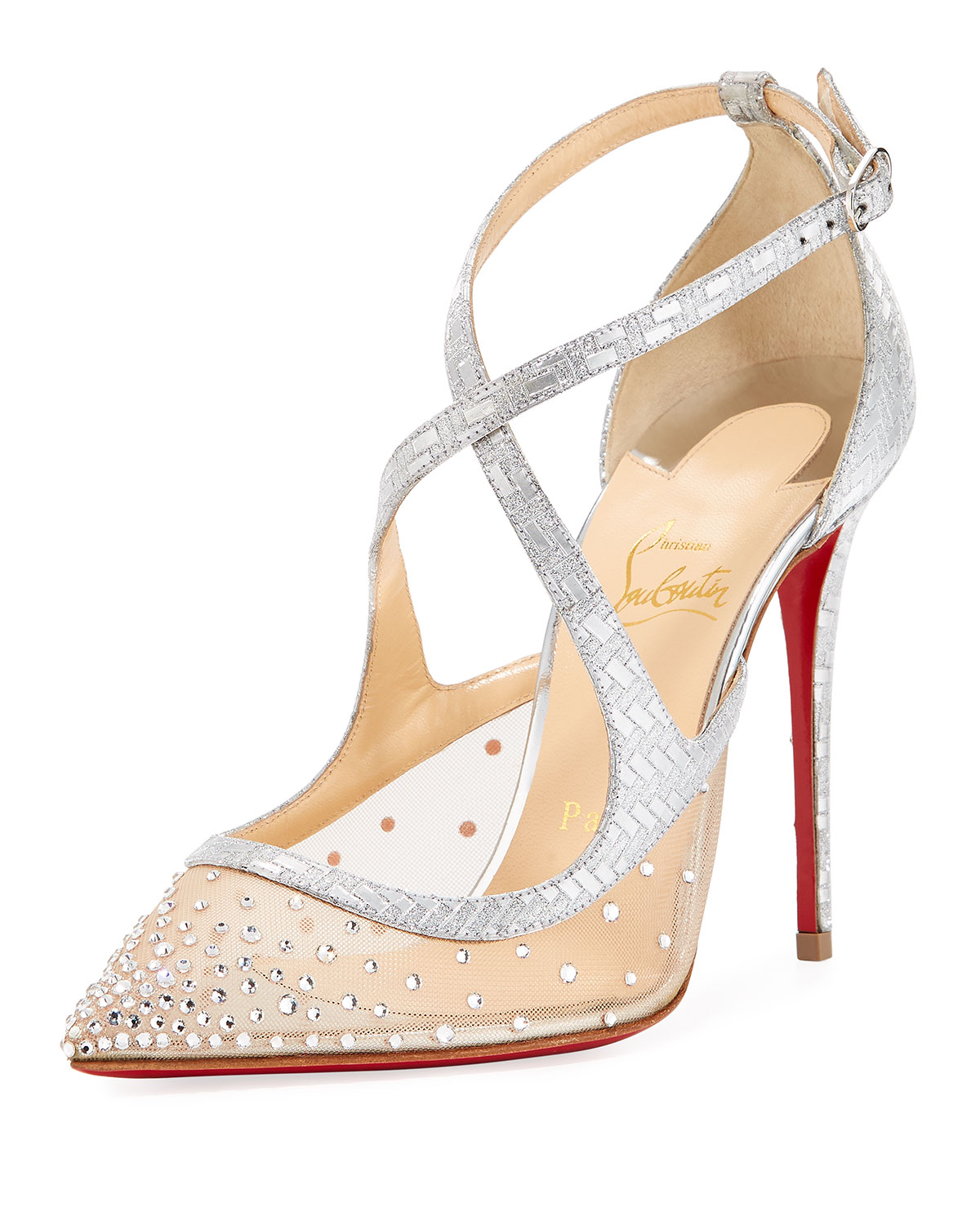 a6557c2203cd Christian Louboutin Twistissima Strass Strappy Red Sole Pumps ...