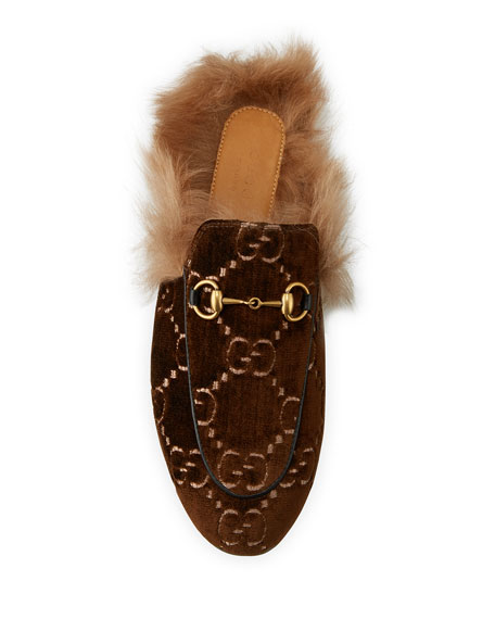 Flat Princetown Velvet GG Mule With Fur
