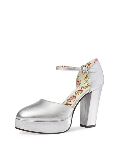 Gucci Agon Metallic Platform Pump