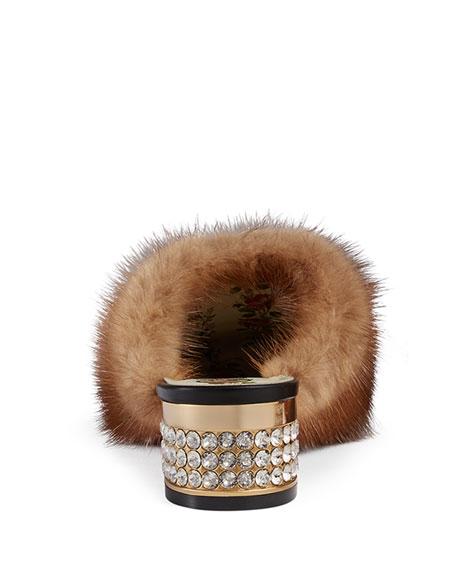 Candy Leather Fur-Trim Mule