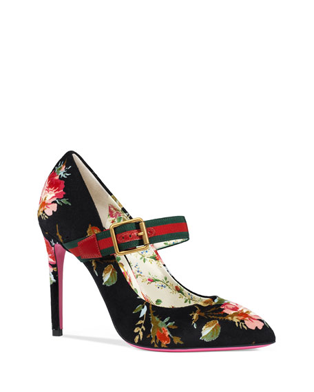 Gucci Floral-Print Velvet Pumps with Web Strap