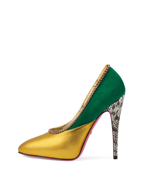 Colorblock Pumps with Crystal Collar