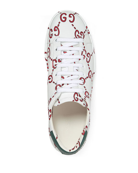 New Ace GG Printed Leather Trainer