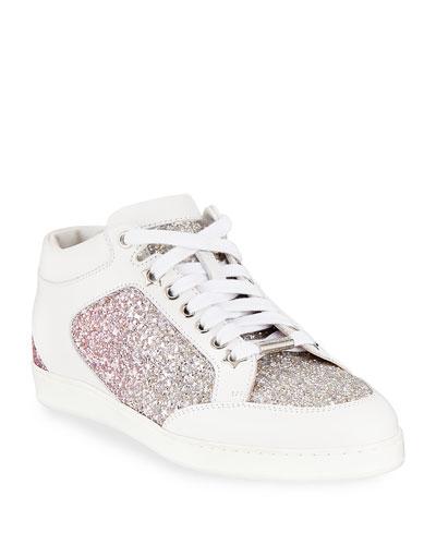 Miami Leather and Glitter Sneaker