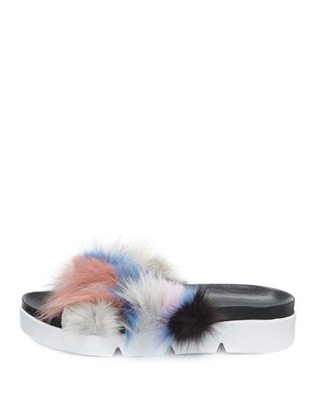 Sublime Flat Fox Fur Slide Sandal
