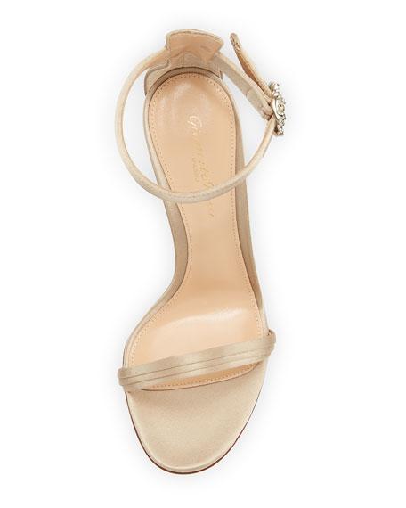 Pleated Satin Embellished 105mm Sandal