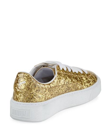 Basket Glitter Platform Sneakers, Gold