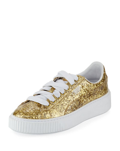 Basket Glitter Platform Sneaker, Gold