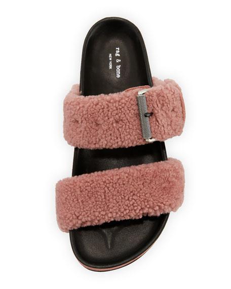 Evin Platform Fur-Strap Sandal