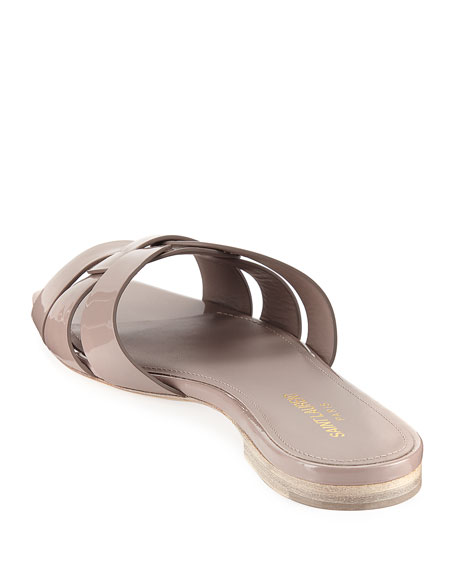 Tribute Patent Leather Flat Slide Sandals