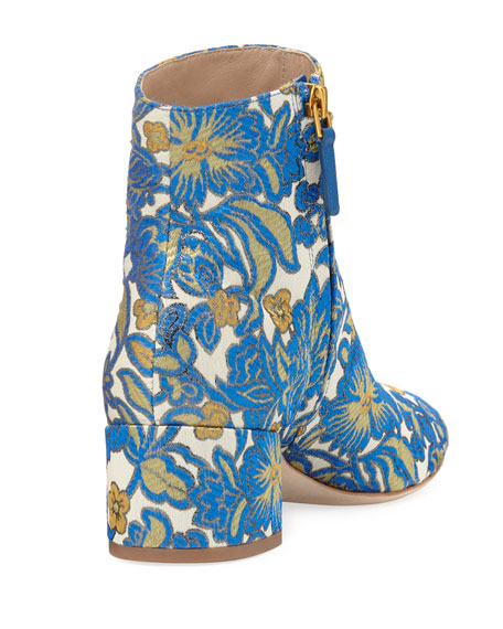 Shelby Jacquard 50mm Bootie, Metallic Floral