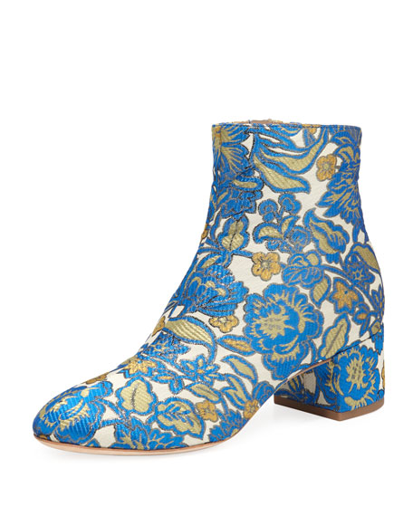 Tory Burch Shelby Jacquard 50mm Bootie, Metallic Floral