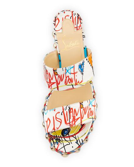 Janitag Graffiti Red Sole Slide Sandal