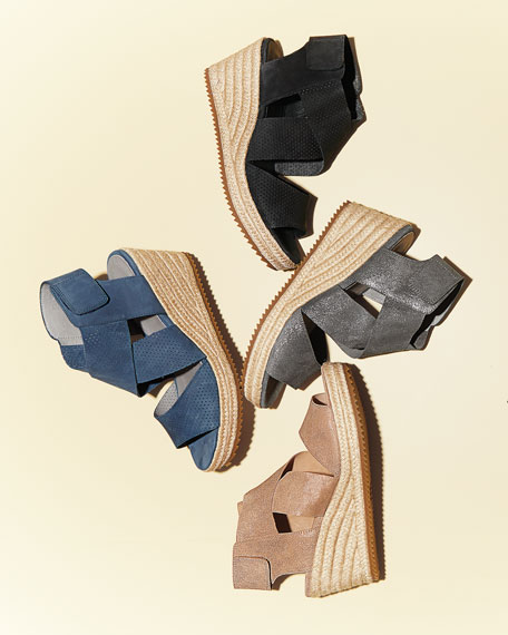 Image 2 of 4: Eileen Fisher Willow Starry Suede Wedge Espadrille Sandals