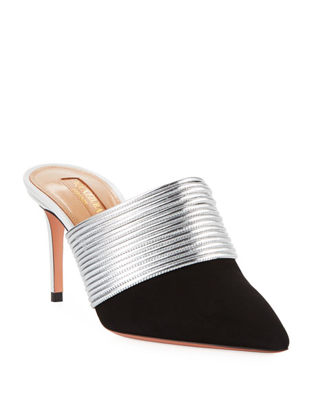 Aquazzura Rendez Vous Metallic Slide Mule
