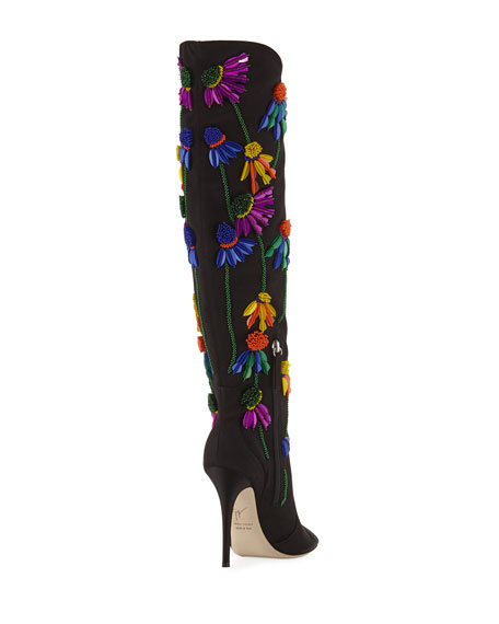 Floral-Embroidered Peep-Toe Satin Boot