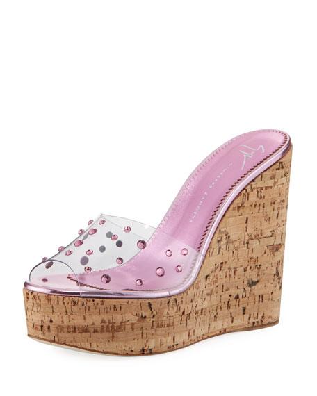 Jeweled Cork Platform Slide Sandal