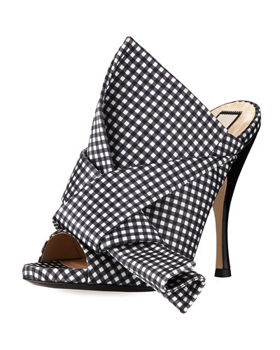 110mm Gingham Bow Slide Sandal