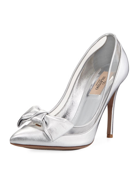 Dolly Bow Metallic Leather Pumps