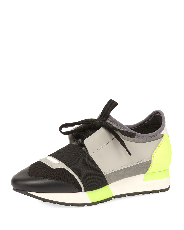 58df25e88b818 Balenciaga Colorblock Race Stretch-Sock Sneakers | Neiman Marcus