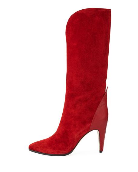 Suede Metallic Knee-High Boot