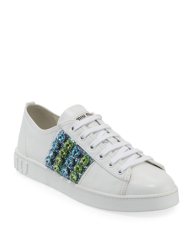 8818f73b84f Miu Miu Jeweled Leather Platform Low-Top Sneakers