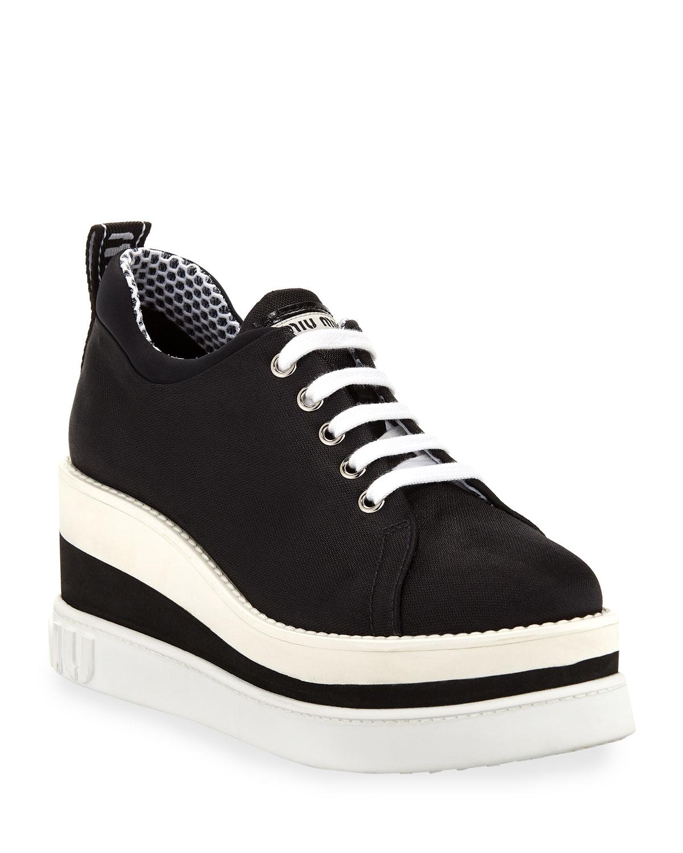 Miu Miu Nylon-Tech Platform Sneakers