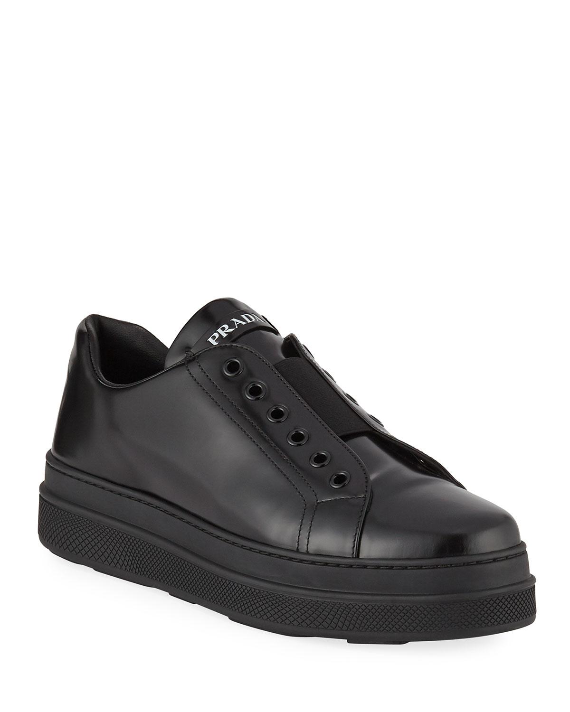 5b7311eac3293 Prada Leather Slip-On Low-Top Sneakers