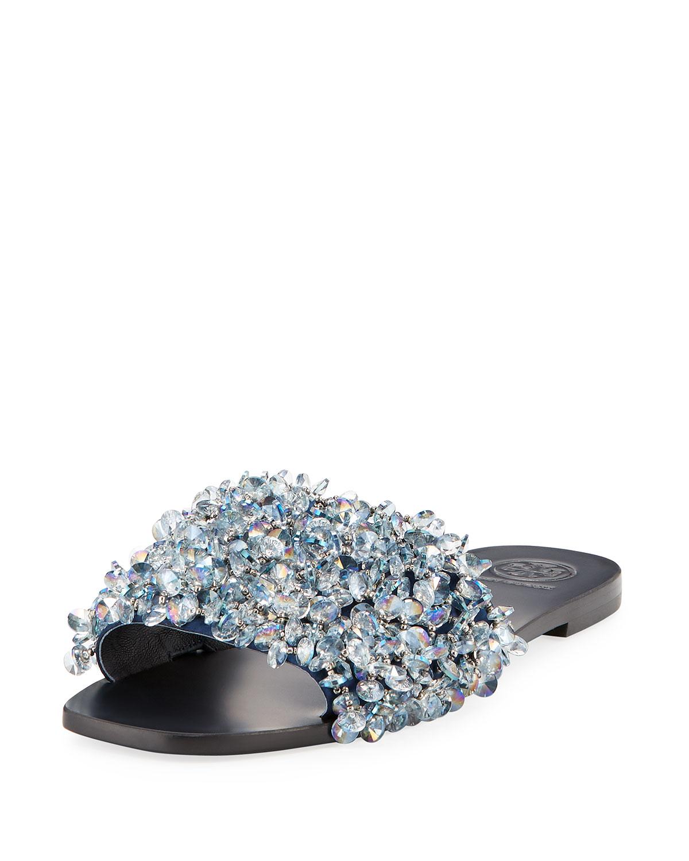 1cb2e000c33a Tory Burch Logan Embellished Flat Slide Sandal