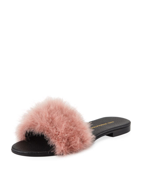 Avec Modération BORA BORA FEATHER-EMBELLISHED SLIDE SANDAL, PINK