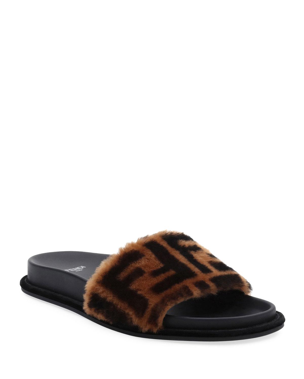 Fendi FF Fur Pool Slide Sandal   Neiman