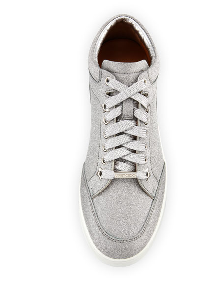Miami Glitter Leather Low-Top Sneakers