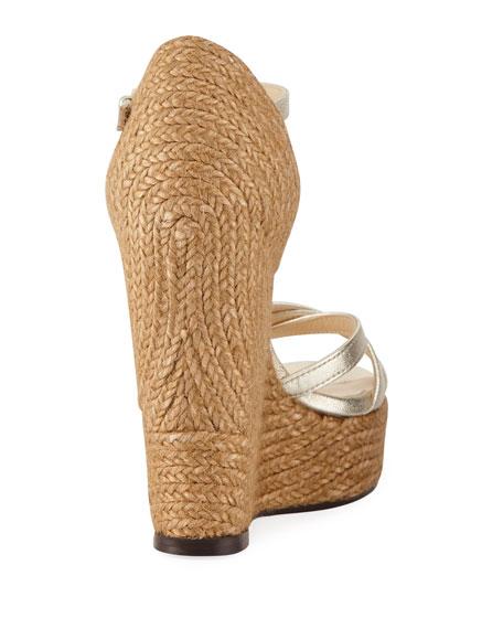 Delaney Metallic Leather Wedge Espadrille Sandal