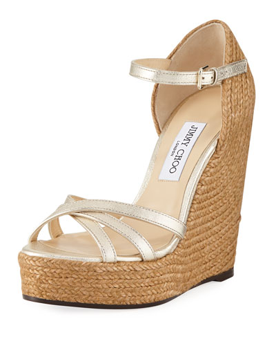 Delaney Metallic Leather Wedge Espadrille Sandal
