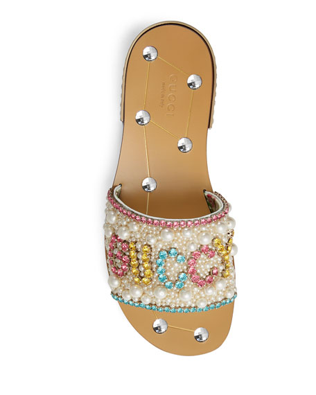 Gucci Lupe 20mm Guccy Jeweled Leather Slide