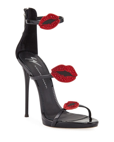 Giuseppe Zanotti Three-Band 100mm Sandal with Lips